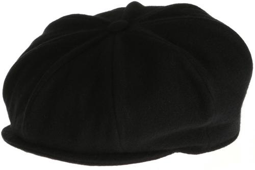 Hanna Hat Donegal IRISH Tweed 8 Piece Peaky Blinders Style Cap in Solid Black HandMade in Ireland