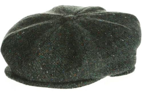 Hanna Hat Donegal IRISH Tweed 8 Piece Peaky Blinders Style Cap in Sea Green HandMade in Ireland