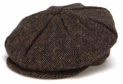 Hanna Hat Donegal IRISH Tweed 8 Piece Peaky Blinders Style Cap in Chocolate HandMade in Ireland