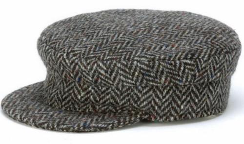 Hanna Hat Donegal IRISH Tweed Skipper Cap in Black Herringbone HandMade in Ireland
