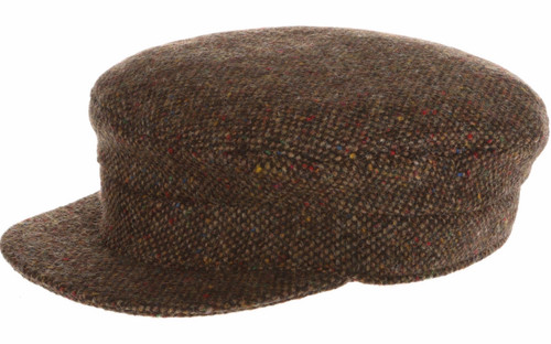 Hanna Hat Donegal IRISH Tweed Skipper Cap in Brown Salt & Pepper HandMade in Ireland