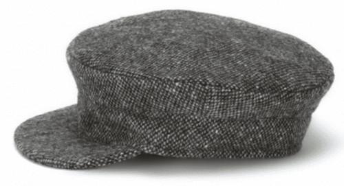 Hanna Hat Donegal IRISH Tweed Skipper Cap in Grey Salt & Pepper HandMade in Ireland