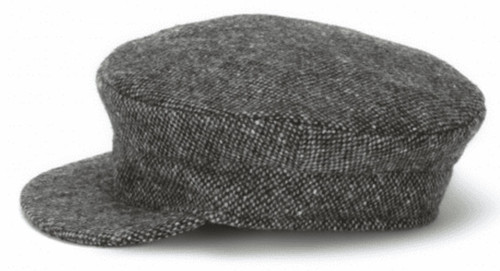 Hanna Hats of Donegal IRISH Tweed Skipper Cap in Grey Salt & Pepper HandMade in Ireland