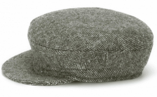 Hanna Hats of Donegal IRISH Tweed Skipper Cap in Moss Green Salt & Pepper HandMade in Ireland