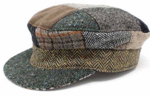 Hanna Hats of Donegal IRISH Tweed Skipper Cap in Patch HandMade in Ireland