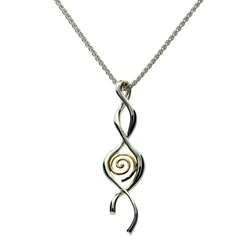 S/S and 10k Gold Spiral Twist Pendant PPX2357 KEITH JACK