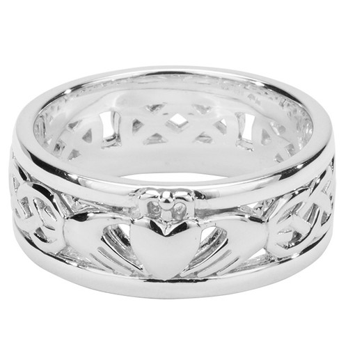 Sterling Silver Oxidized Claddagh Wedding Ring   Sizes 5-15 by KEITH JACK PRS6474