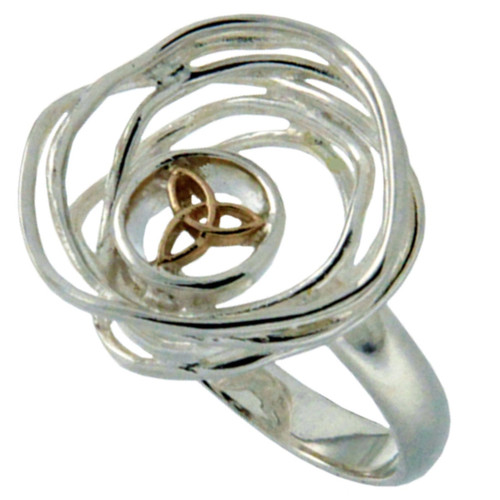 Sterling Silver and 10k Celtic Cradle of Life Ring   Sizes 5-11 by KEITH JACK PRX10478