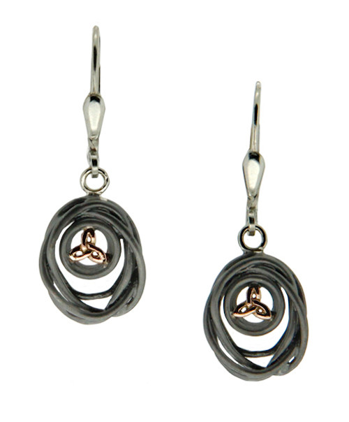 S/sil Ruthenium + 10k Rose Celtic Cradle of Life Leverback Drop Earrings By Keith Jack