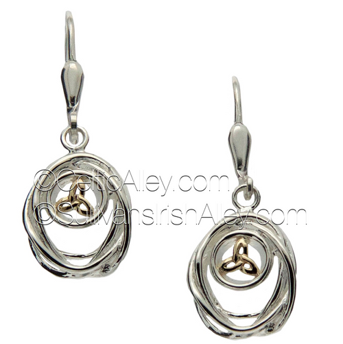 These earrings are part of the Cradle of Life Collection.     Materials:  Sterling Silver with 10k Yellow Gold  Dimensions (w x h):  1/2″  x  3/4″  Details:  leverback     Wear these earrings as a reminder that our lives are forever intertwined with the lives of those we love.  Pair these earrings with the PPX10479 Cradle of Life necklace to complete the set.