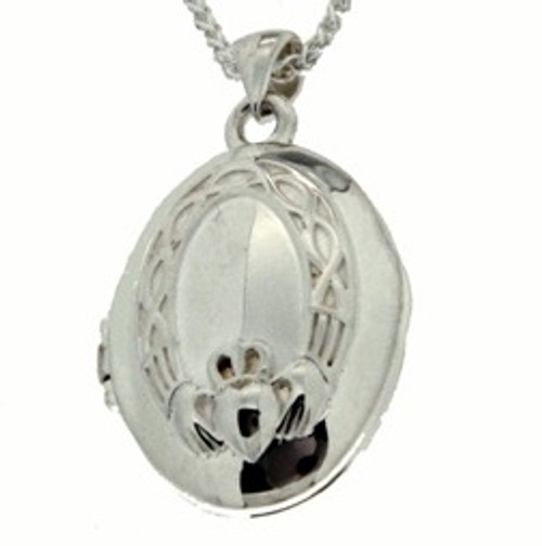 S/sil + 22k Gilded Claddagh Locket Pendant By Keith Jack PLX3758