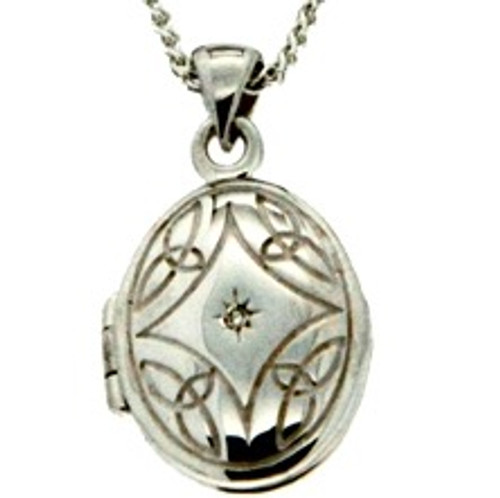 S/sil + 22k Gilded Diamond Set Small Locket By Keith Jack