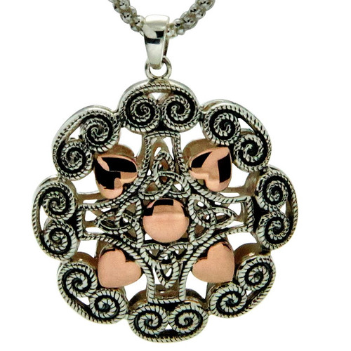 S/sil + 10k Rose Gold Ashen Rose Heart Small Pendant By Keith Jack PPX0617-S