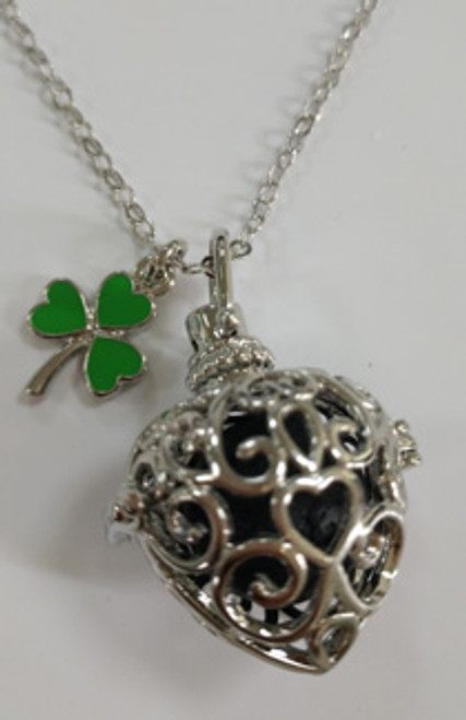 Angel Necklace Locket with Scent-Able Ball & Shamrock Pendant