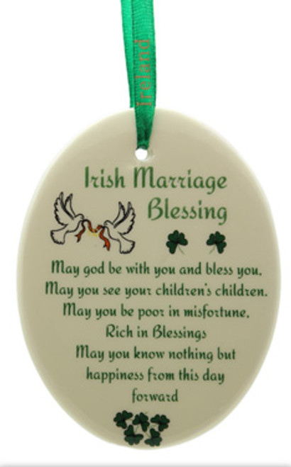Oval Irish Marriage Blessing Fine Bone China Ornament