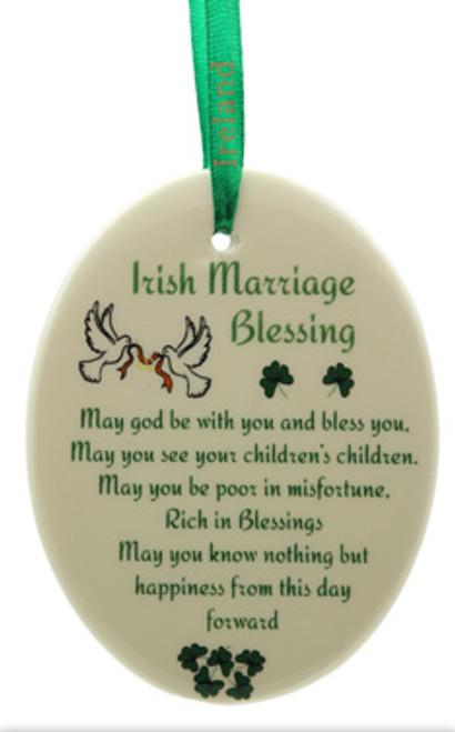 Oval Irish Marriage Blessing Fine Bone China Ornament