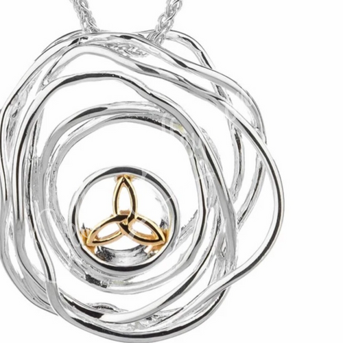 CELTIC CRADLE OF LIFE PENDANT in Sterling Silver and 10k Yellow Gold By Keith Jack PPX10479