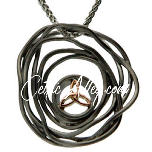 CELTIC CRADLE OF LIFE PENDANT DARK in Sterling Silver / Ruthenium + 10k Rose  By Keith Jack PPX10479-2