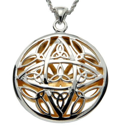 S/sil + 22k Gilded Trinity Reversible Pendant By Keith Jack