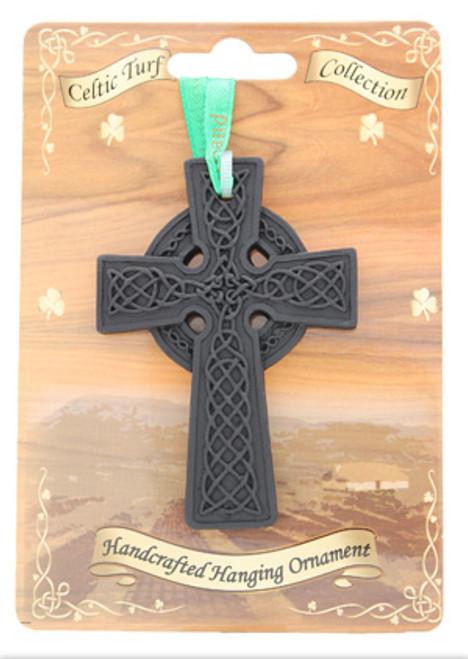 Irish Turf Hanging Ornament - Celtic Cross