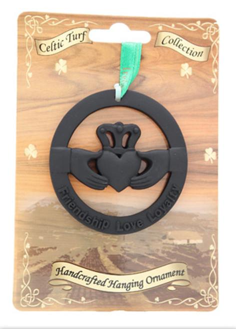 Irish Turf Hanging Ornament - Claddagh