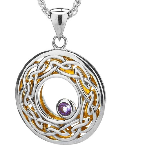 S/sil + 22k Gilded Window to the Soul Amethyst (3mm) Round Pendant By Keith Jack