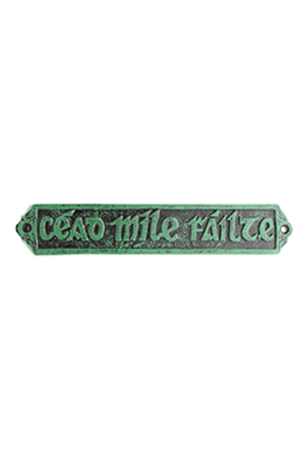 White Metal Cead Mile Failte Plaque in Green - Medium