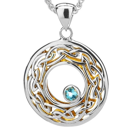 S/sil + 22k Gilded Window to the Soul Sky Blue Topaz (3mm) Round Pendant By Keith Jack