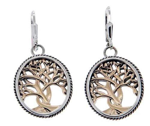 Sterling Silver + 10k TREE OF LIFE Leverback Earrings~By KEITH JACK~PEX6637
