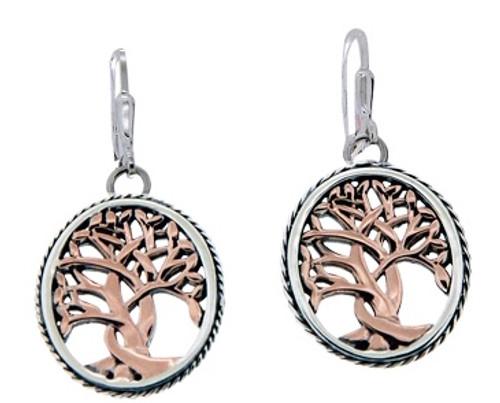 Sterling Silver + 10k Rose TREE OF LIFE Leverback Earrings~By KEITH JACK~PEX6637-3