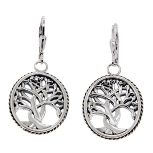 Sterling Silver TREE OF LIFE Leverback Earrings~By KEITH JACK~PES6637