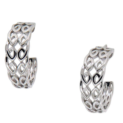 Sterling Silver Rhodium Half Creole Bridge Earrings~By Keith Jack~PES0066