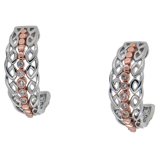 Sterling Silver Rhodium + 10k Rose CZ Half Creole Bridge Earrings~By Keith Jack~PEX0065-3