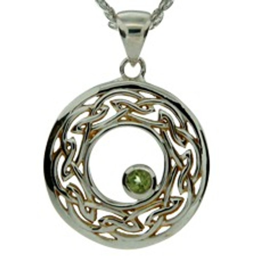 S/sil + 22k Gilded Window to the Soul Peridot (3mm) Round Pendant with Rhodolite By Keith Jack