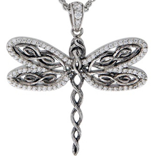 Sterling Silver Rhodium White CZ Barked Dragonfly Pendant~By Keith Jack~PPS6240