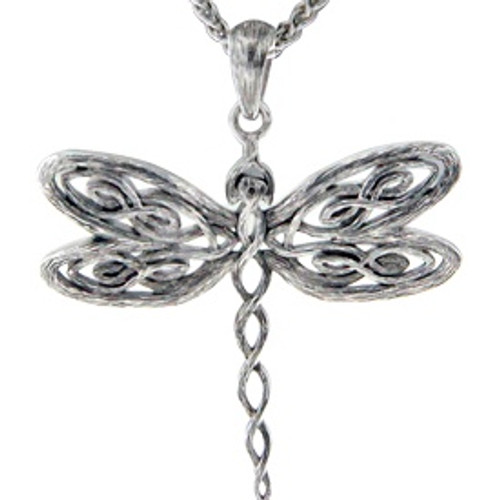 Sterling Silver Rhodium Barked Dragonfly Pendant~By Keith Jack~PPS0075