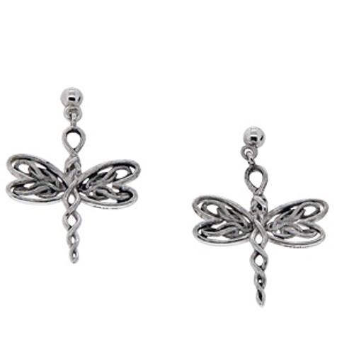 Sterling Silver Rhodium Dragonfly Post Earrings~By Keith Jack~PES0067