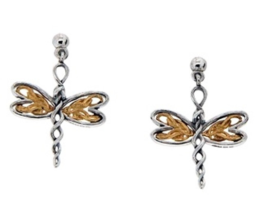 Sterling Silver Rhodium + 10k Yellow Dragonfly Post Earrings~By Keith Jack~PEX0067
