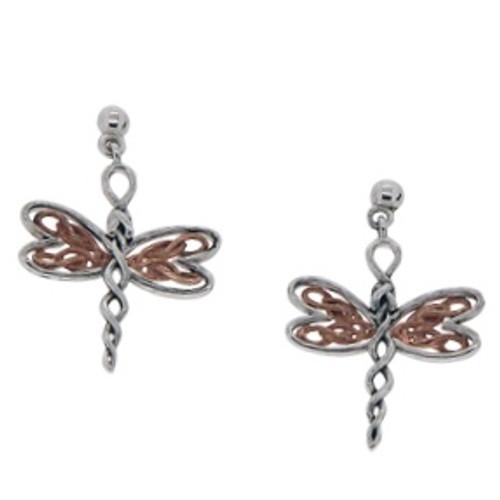 Sterling Silver Rhodium + 10k Rose Dragonfly Post Earrings~By Keith Jack~PEX0067-3