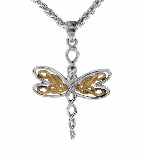 Sterling Silver Rhodium + 10k Yellow Petite Dragonfly Pendant~By Keith Jack~PPX0067