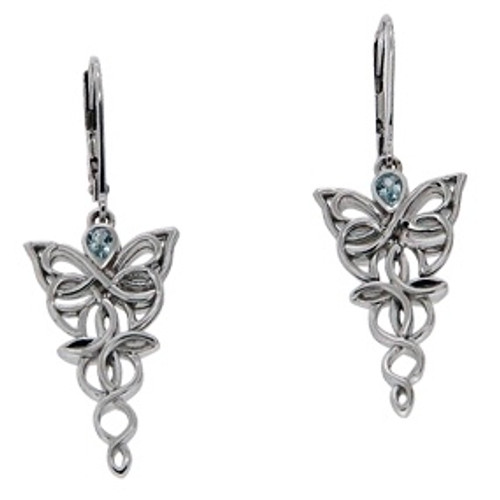 Sterling Silver Rhodium Sky Blue Topaz Butterfly Leverback Earrings~By Keith Jack~PES0068