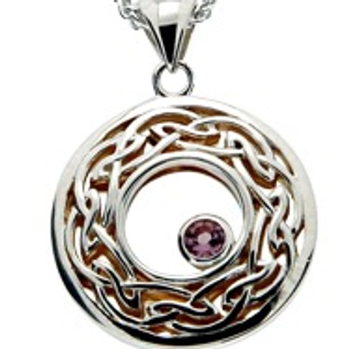 S/sil + 22k Gilded Window to the Soul Rhodolite Garnet (3mm) Round Pendant By Keith Jack