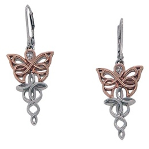 Sterling Silver Rhodium + 10k Rose CZ Butterfly Leverback Earrings~By Keith Jack~PEX0068-3
