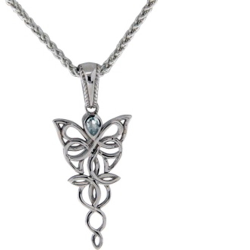 Sterling Silver Rhodium Sky Blue Topaz Petite Butterfly Pendant~By Keith Jack~PPS0068