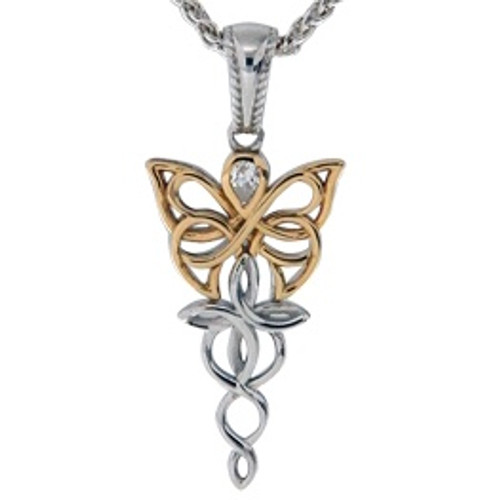 Sterling Silver Rhodium + 10k Yellow CZ Petite Butterfly Pendant~By Keith Jack~PPX0068