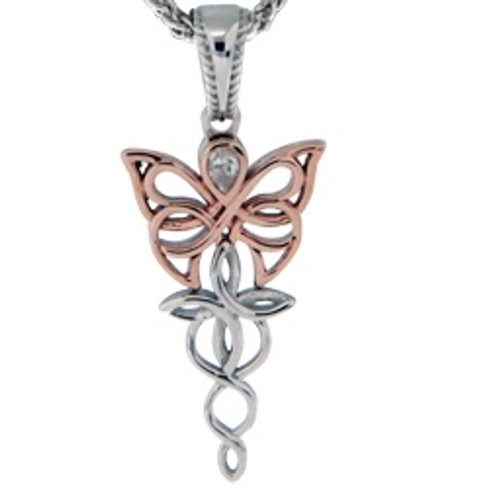 Sterling Silver Rhodium + 10k Rose CZ Petite Butterfly Pendant~By Keith Jack~PPX0068-3