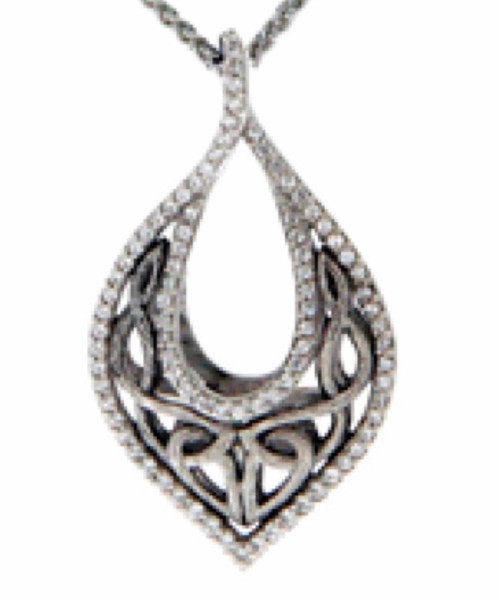 Sterling Silver Rhodium White CZ Love's Chalice Pendant~By Keith Jack~PPS6242