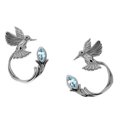 Sterling Silver Hummingbird Stud + Blue Topaz Earring Jacket (3 piece)~By Keith Jack~PES0070-BT