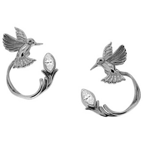 Sterling Silver Hummingbird Stud + White Topaz Earring Jacket (3 piece)~By Keith Jack~PES0070-WT