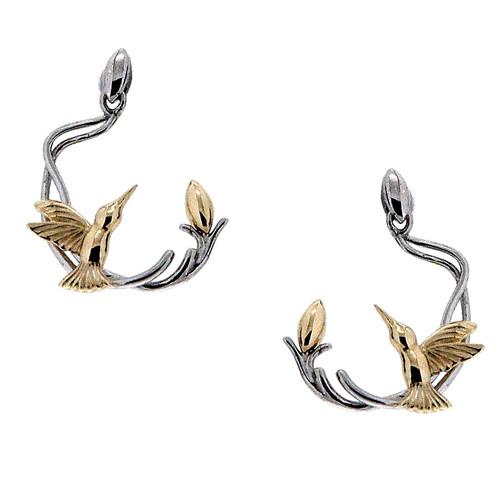 Sterling Silver Rhodium + 10k Yellow Hummingbird Post Earrings~By Keith Jack~PEX0069